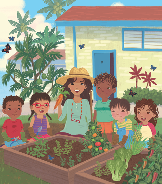 Jamie Tablason Illustration teacher and students in garden picking vegetables