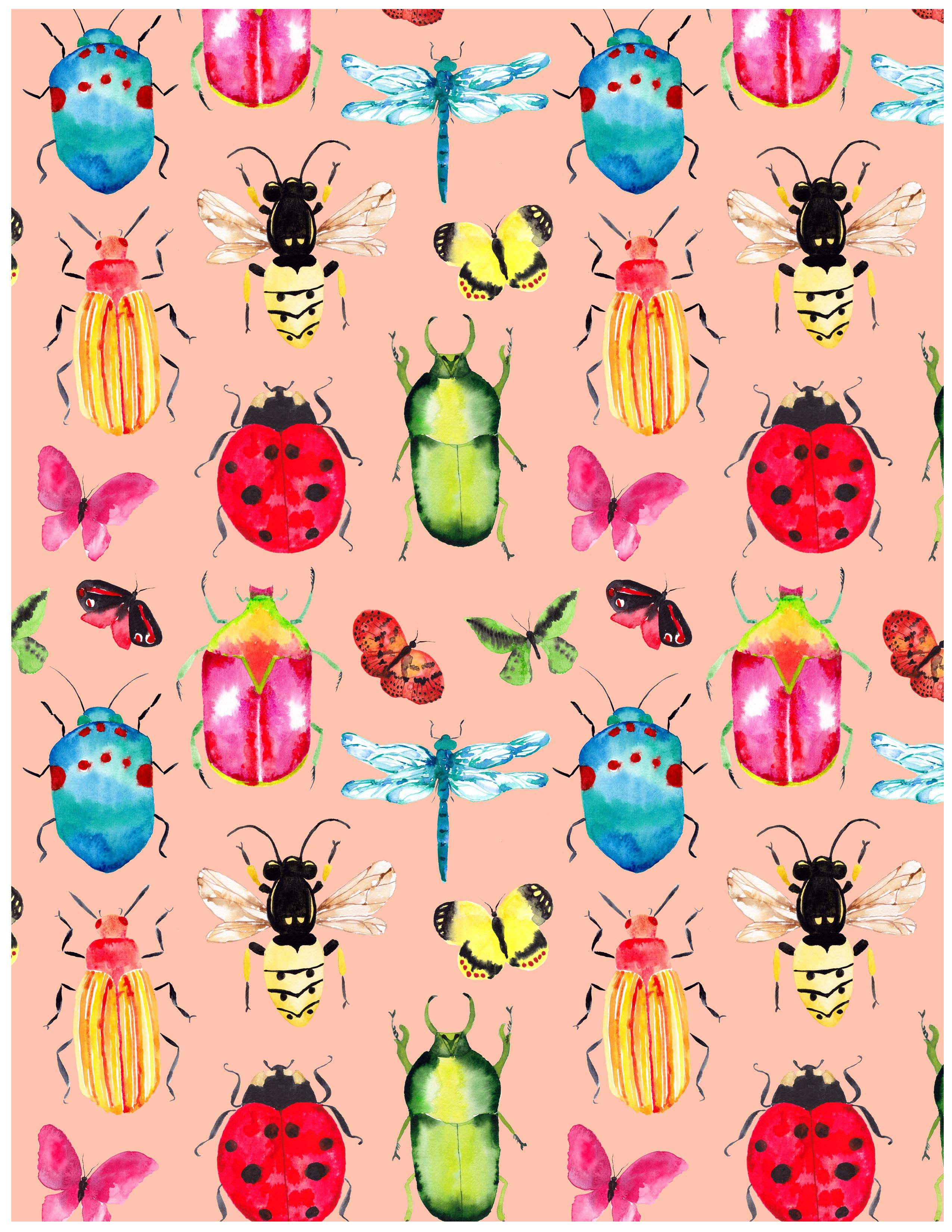 Sara Berrenson Illustration beetle and ladybug pattern