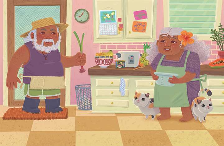Jamie Tablason Illustration farmers in kitchen cooking