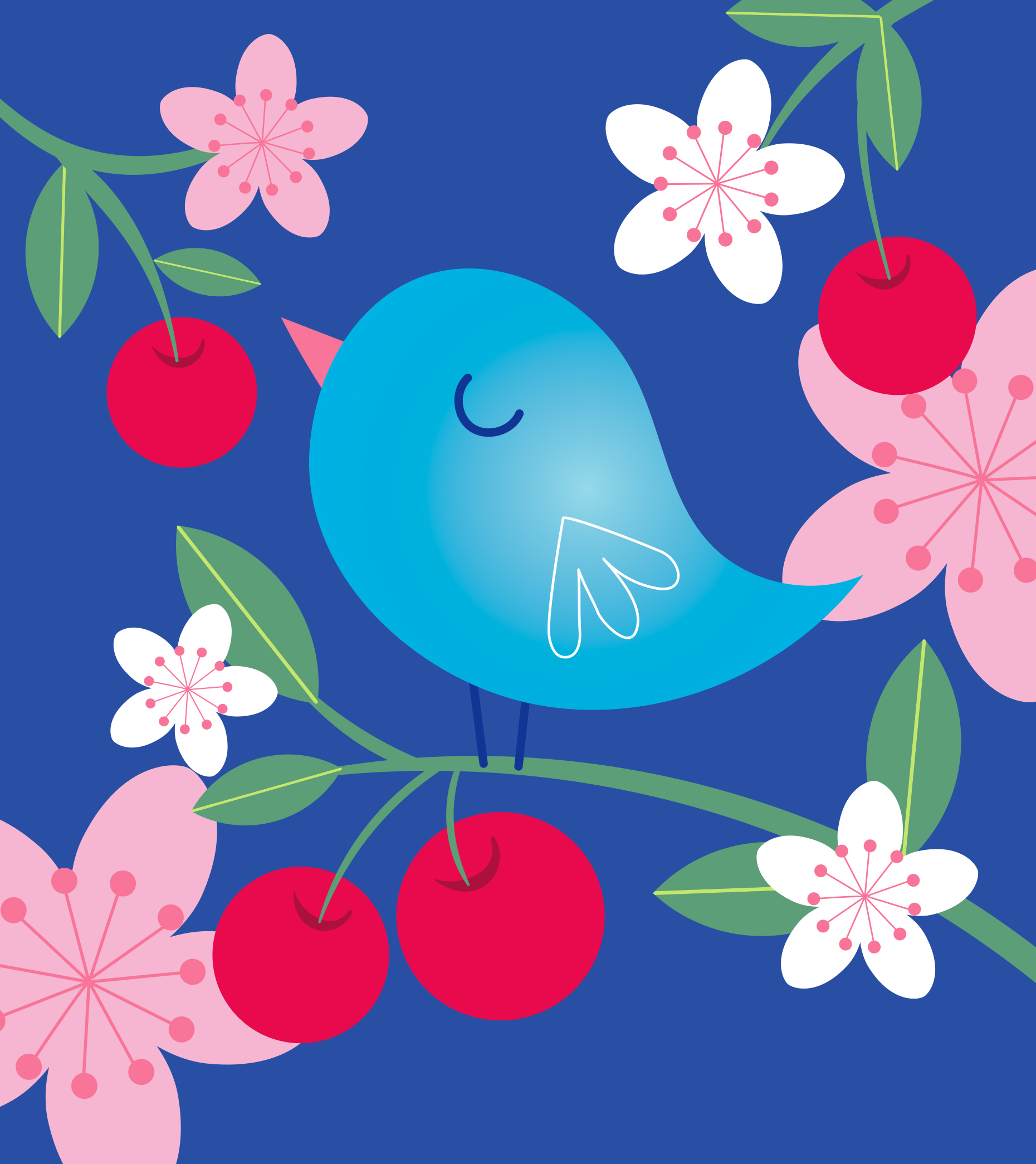 Mona Daly Illustration Bluebird and cherries