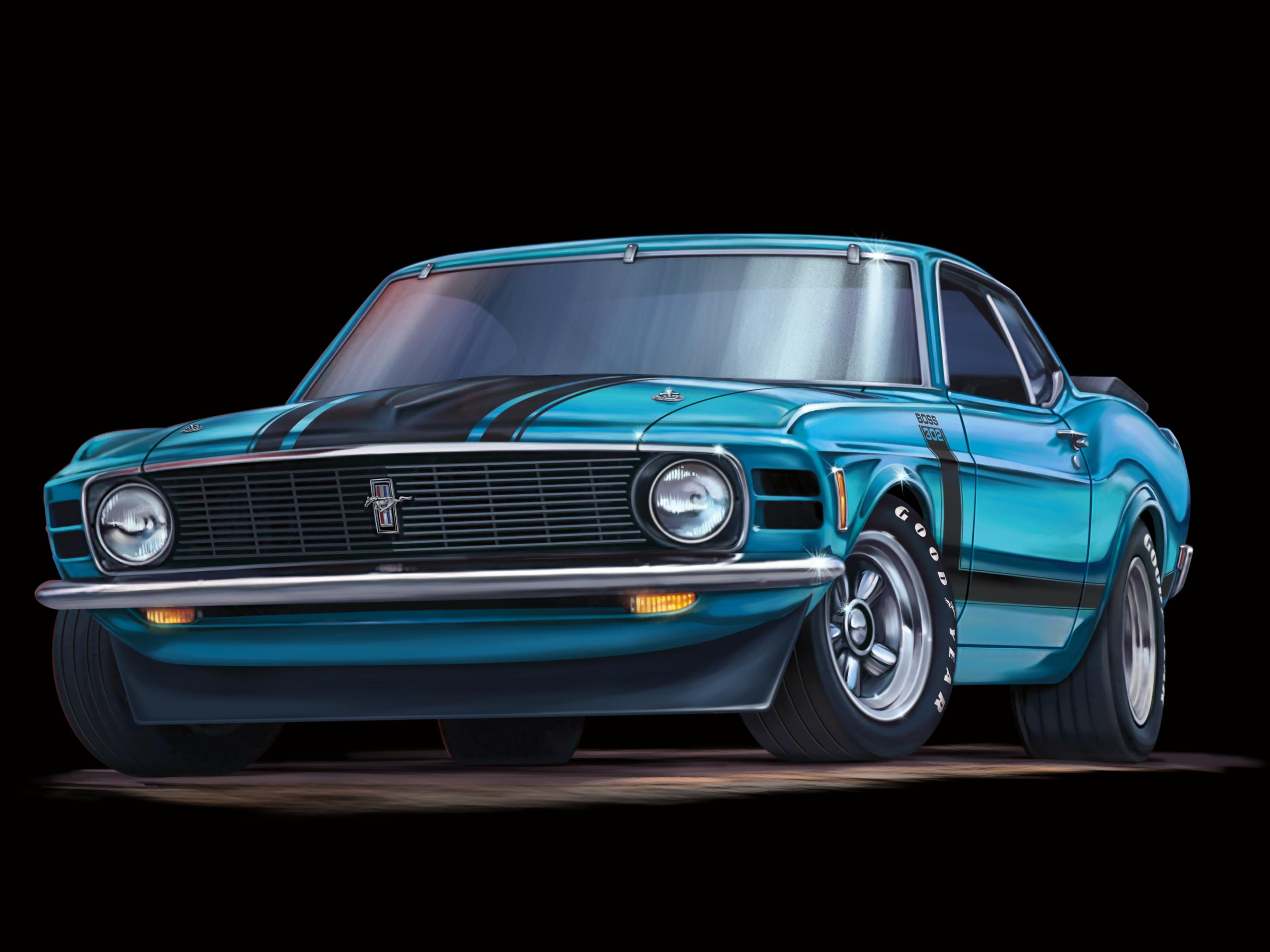 Ray Goudey Illustration Blue Boss Mustang Car