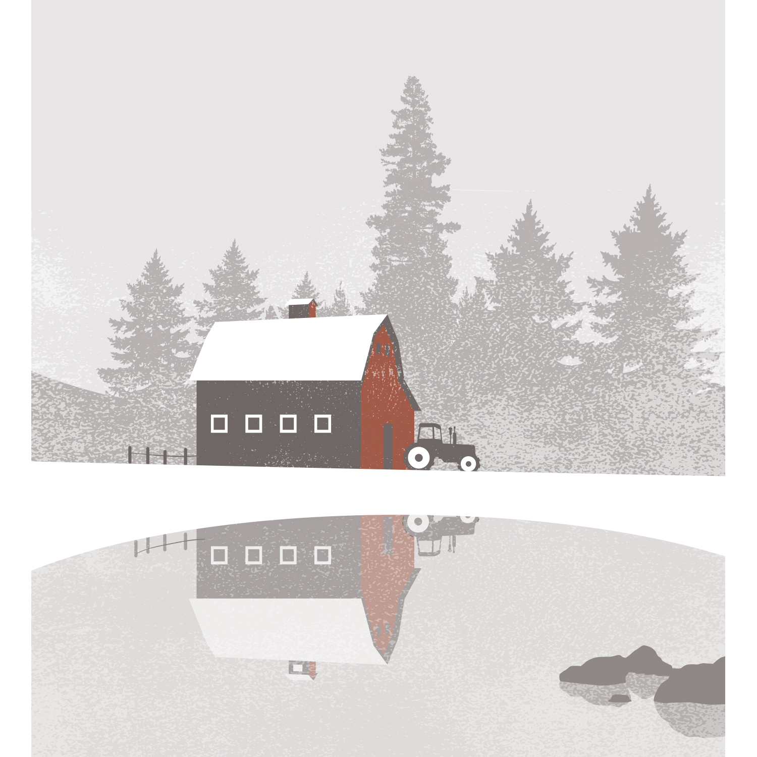 Mona Daly Illustration Farm in winter