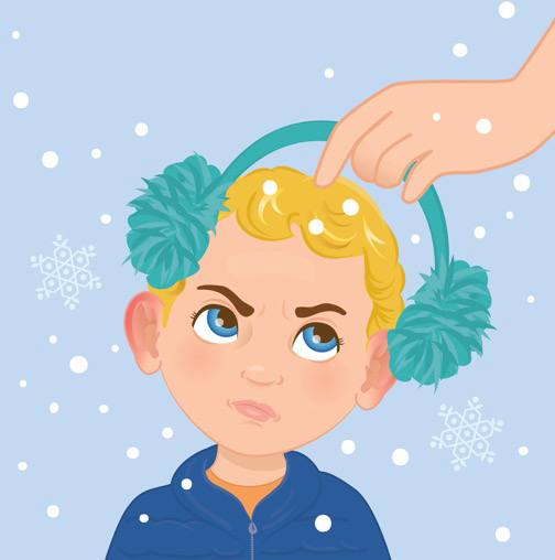 Karen Wolcott Illustration boy with ear muffs