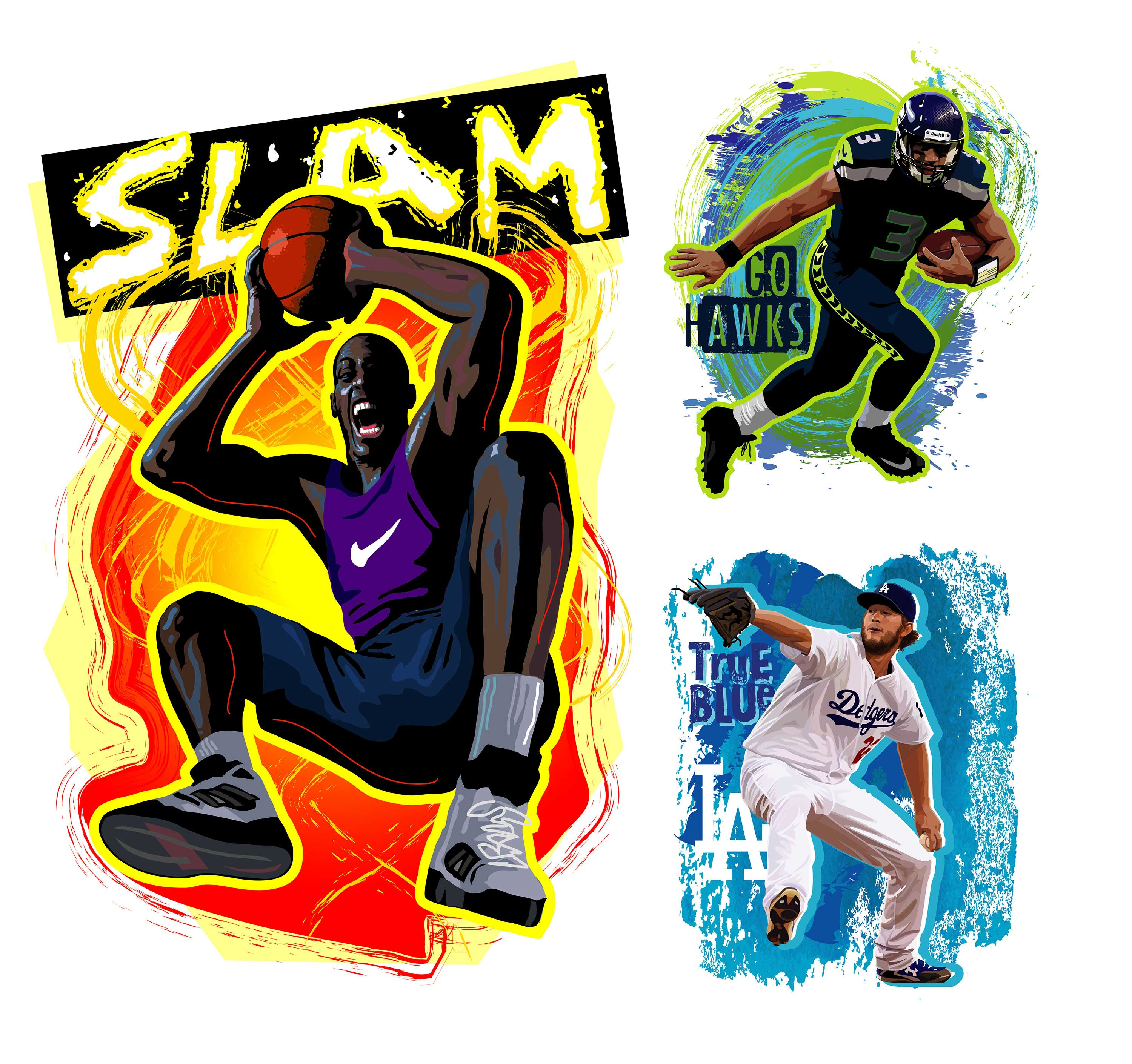Kelly Hume Illustration sports basketball baseball football