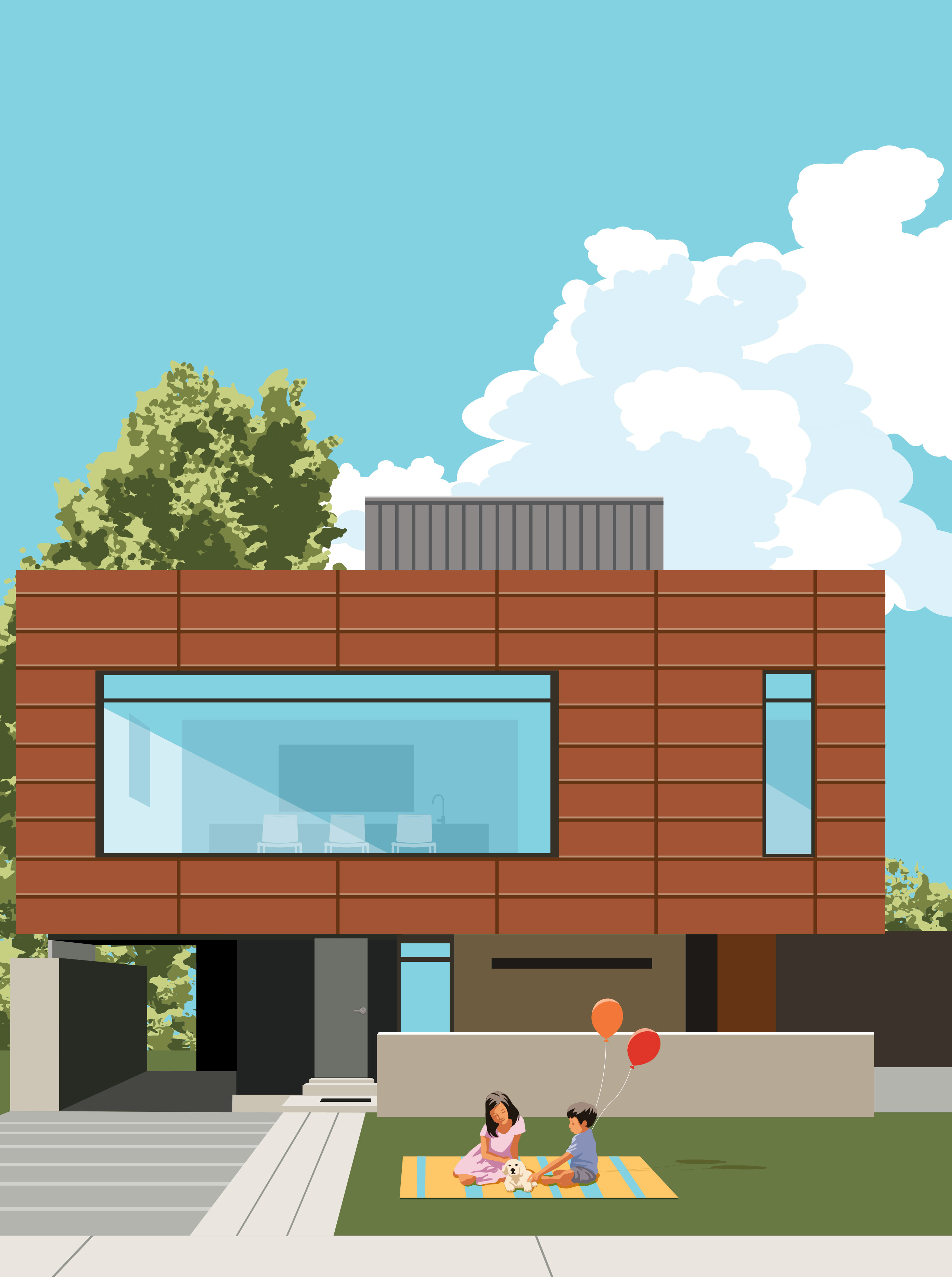 Mona Daly Illustration Modern House with kids