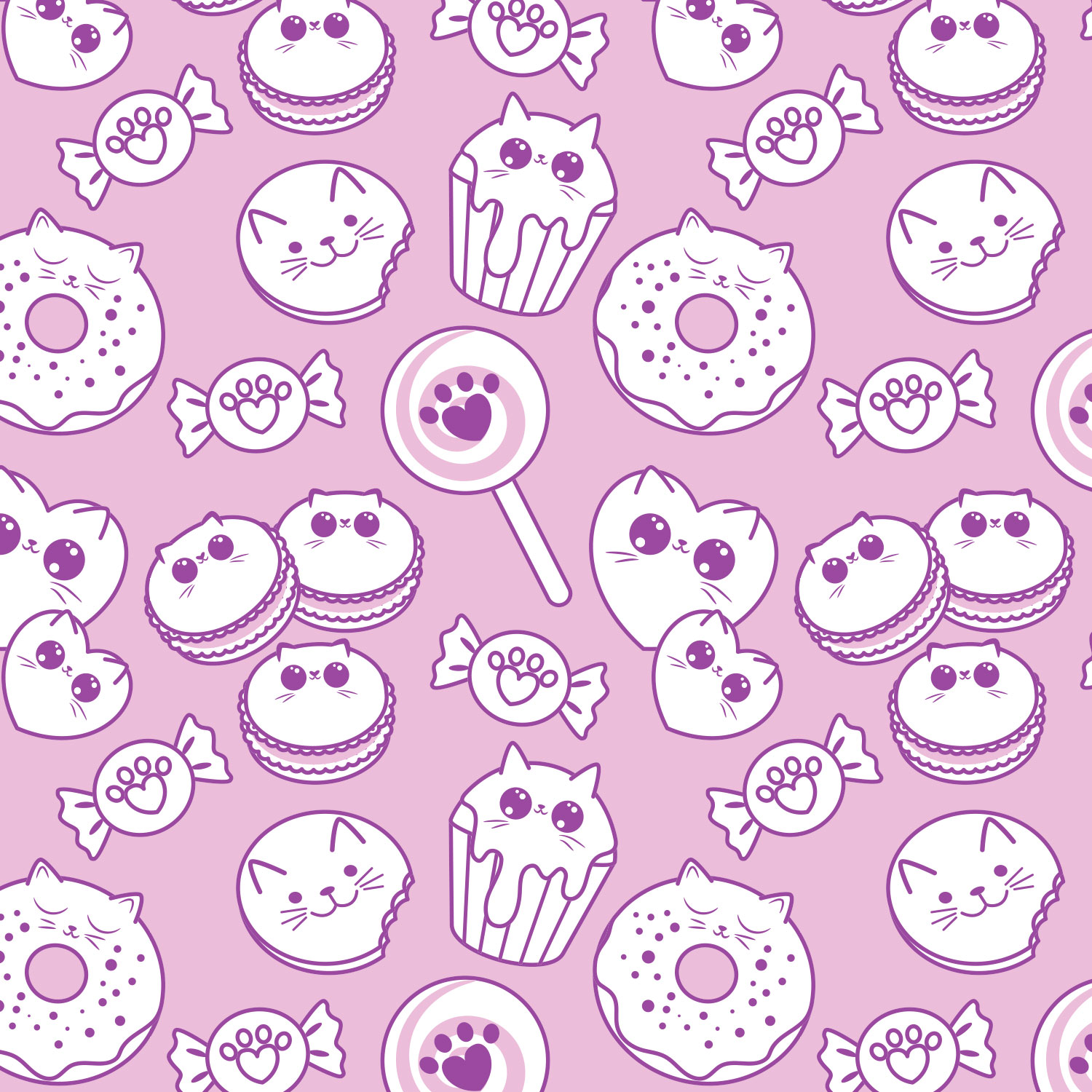 Mona Daly Illustration sweets cupcakes donuts pattern