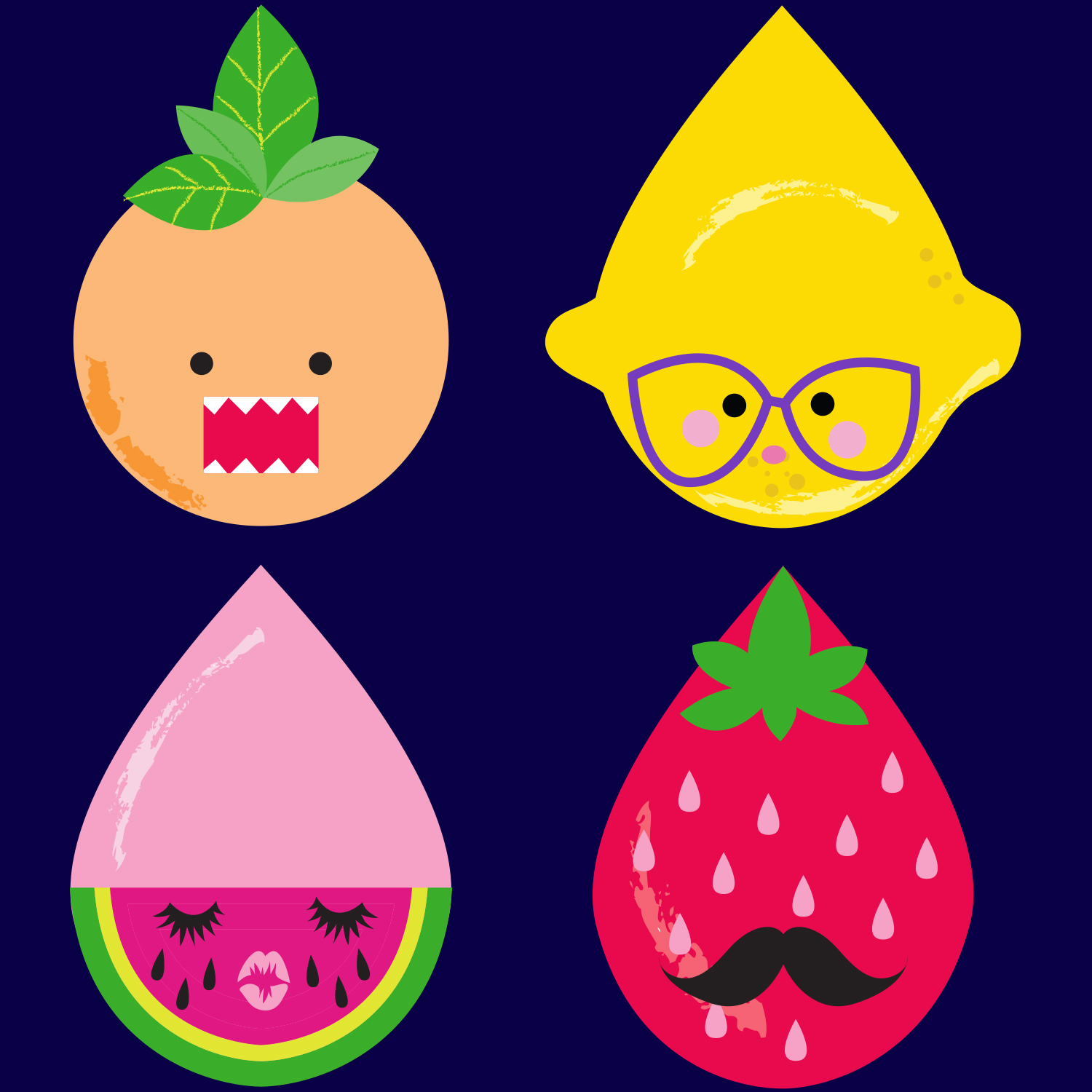 Mona Daly Illustration fruit drops with faces