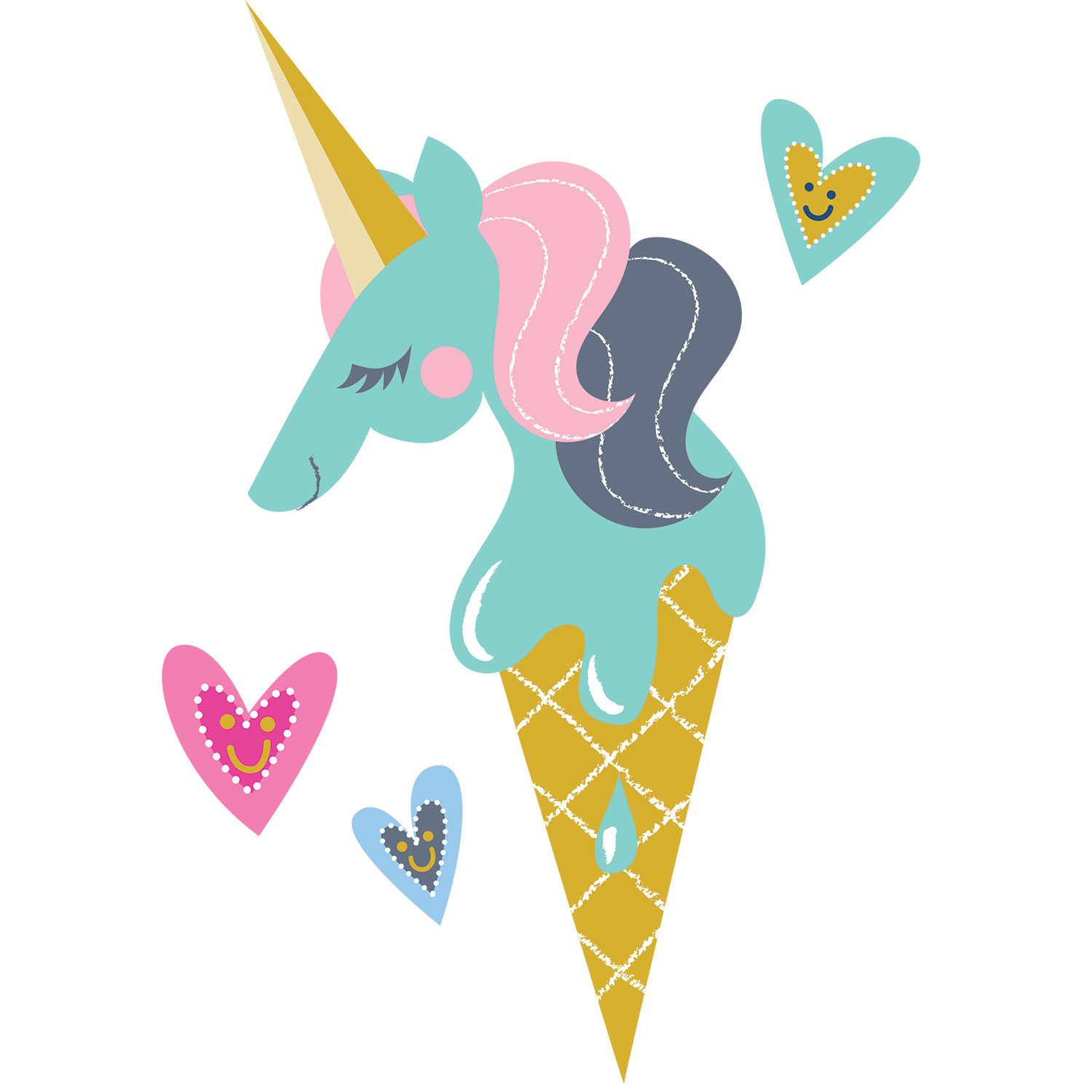 Mona Daly Illustration Unicorn Ice Cream Cone