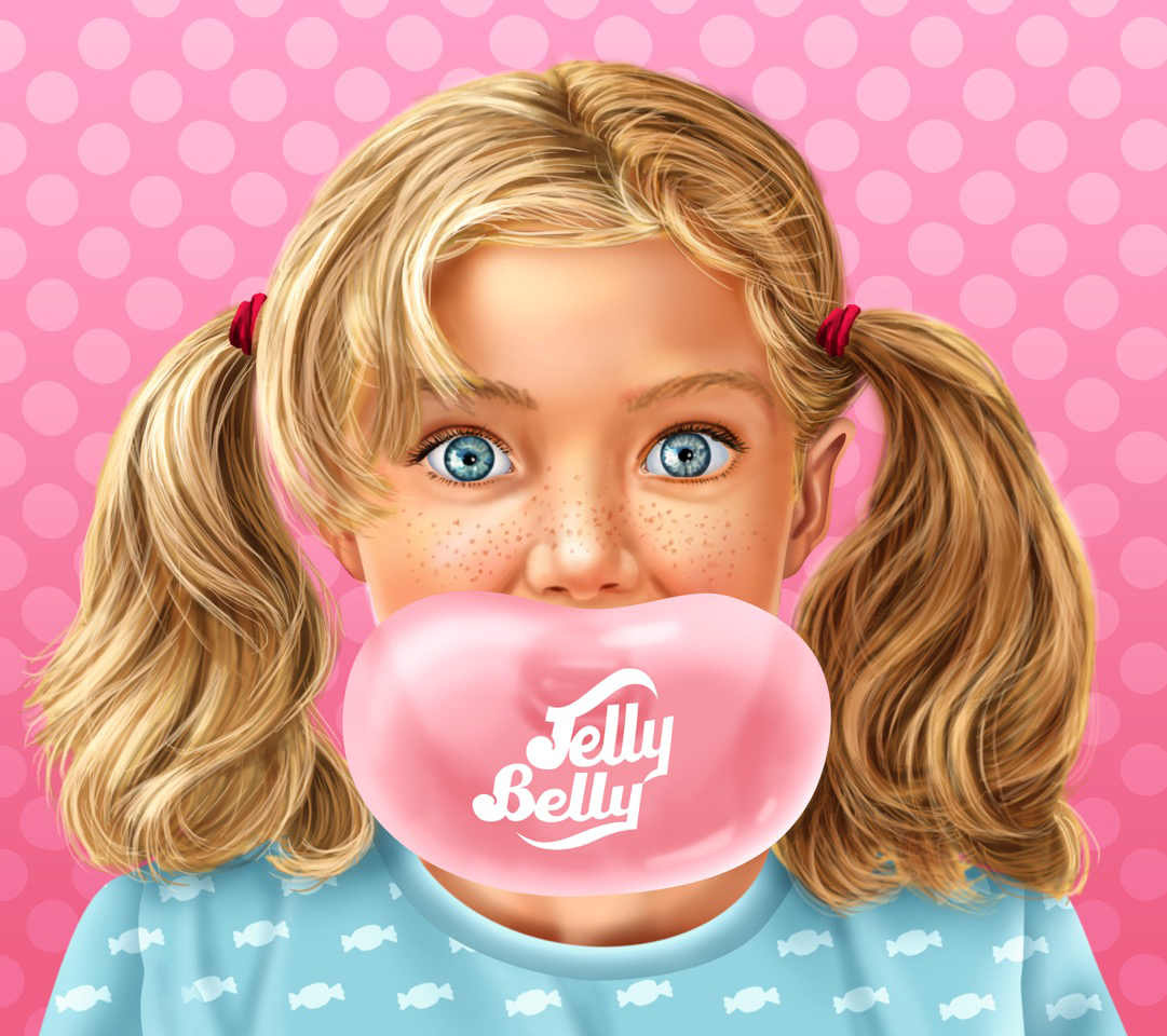 Pam Wall Illustration Jelly Belly Bubble Gum Girl