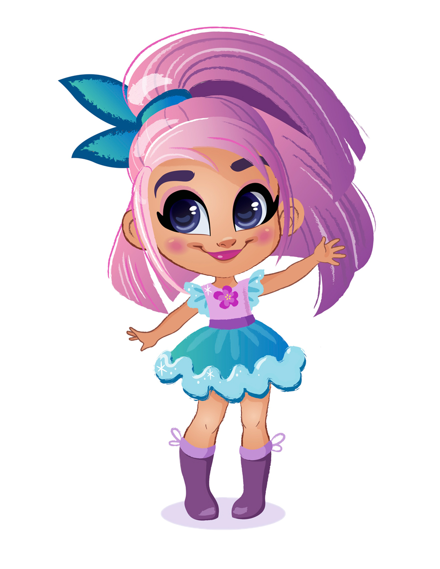 Pamela Duarte Illustration Big Eyed Girl with Purple Hair