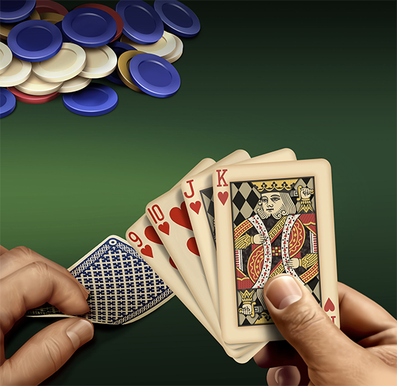 Pam Wall Illustration Poker Hand card game