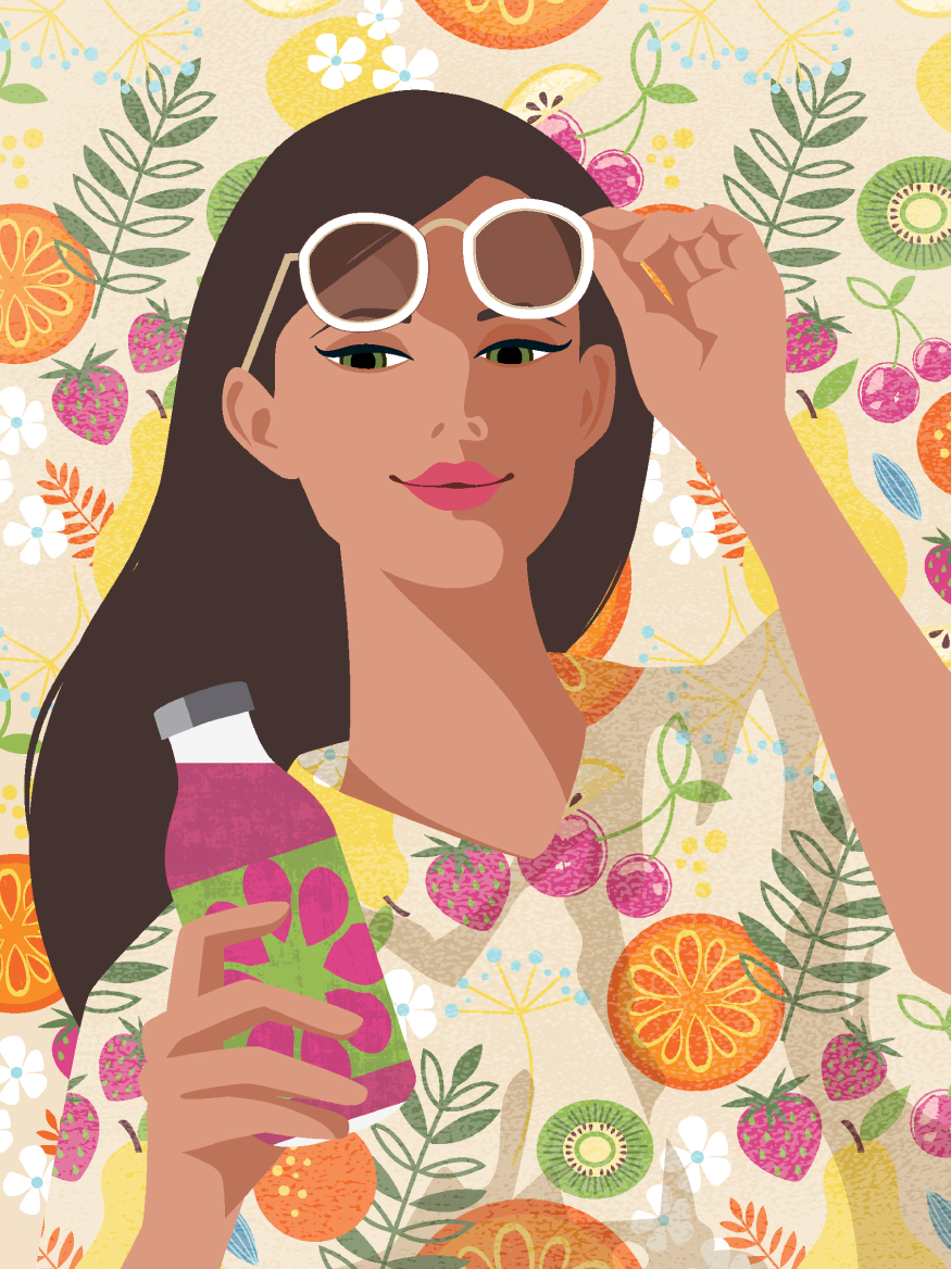 Mona Daly Illustration Portrait Fruit pattern