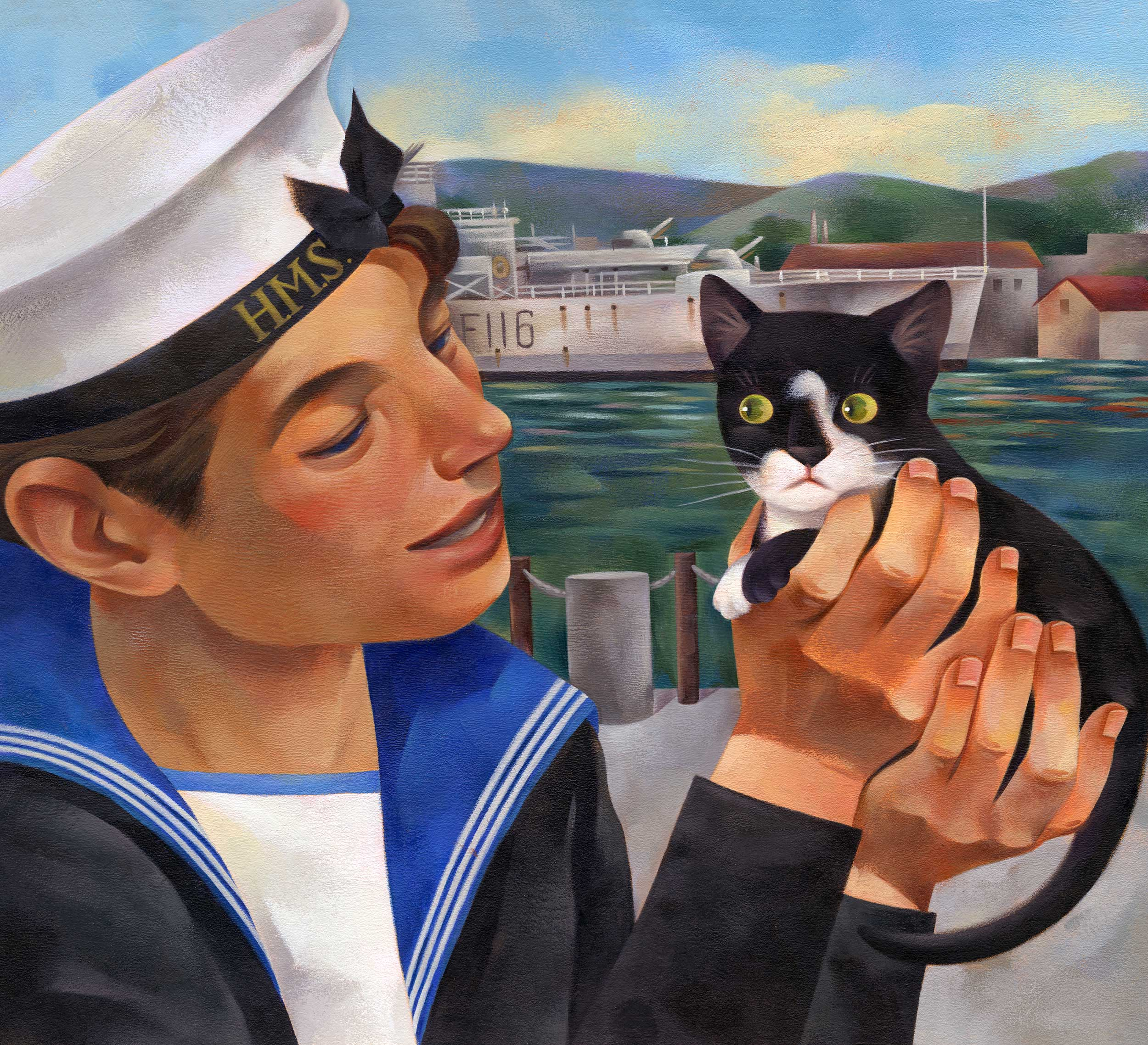 Jui Ishida Illustration sailor and black and white kitten