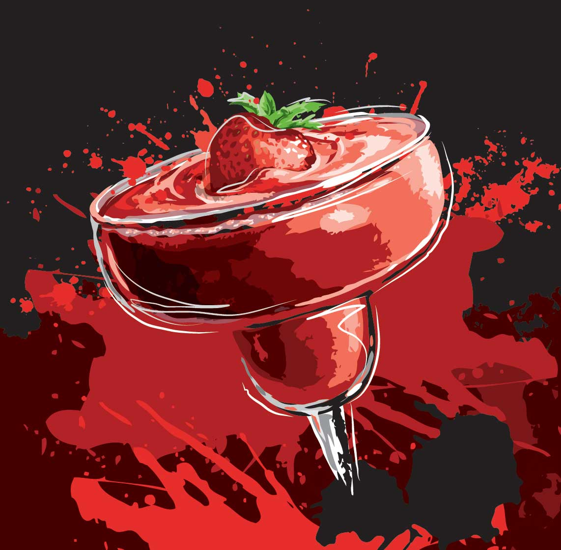 Chris Musselman Illustration TGIF wild strawberry daiquiri splash drink