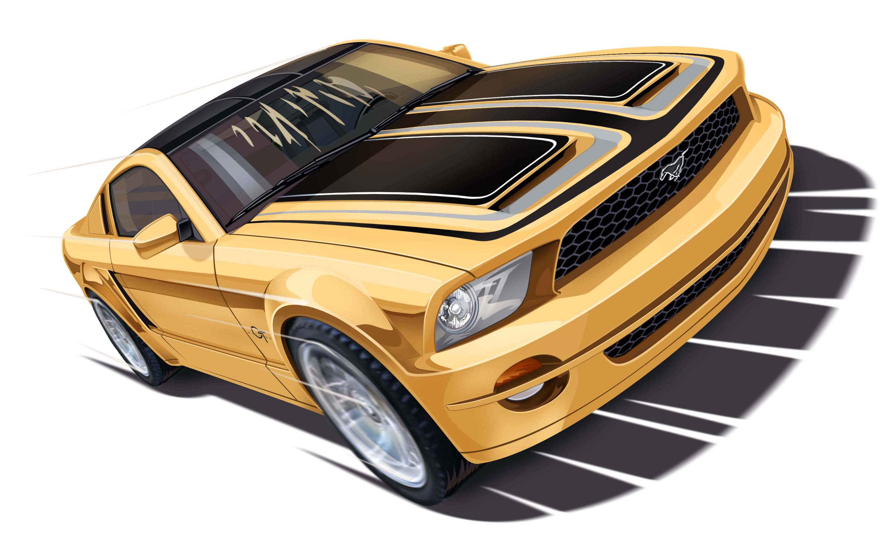Ray Goudey Illustration gold car mustang