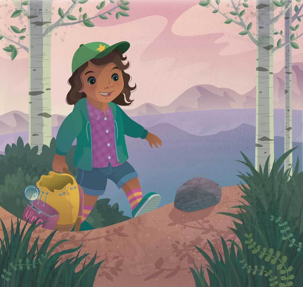 Jamie Tablason Illustration in my bag girl hiking trail
