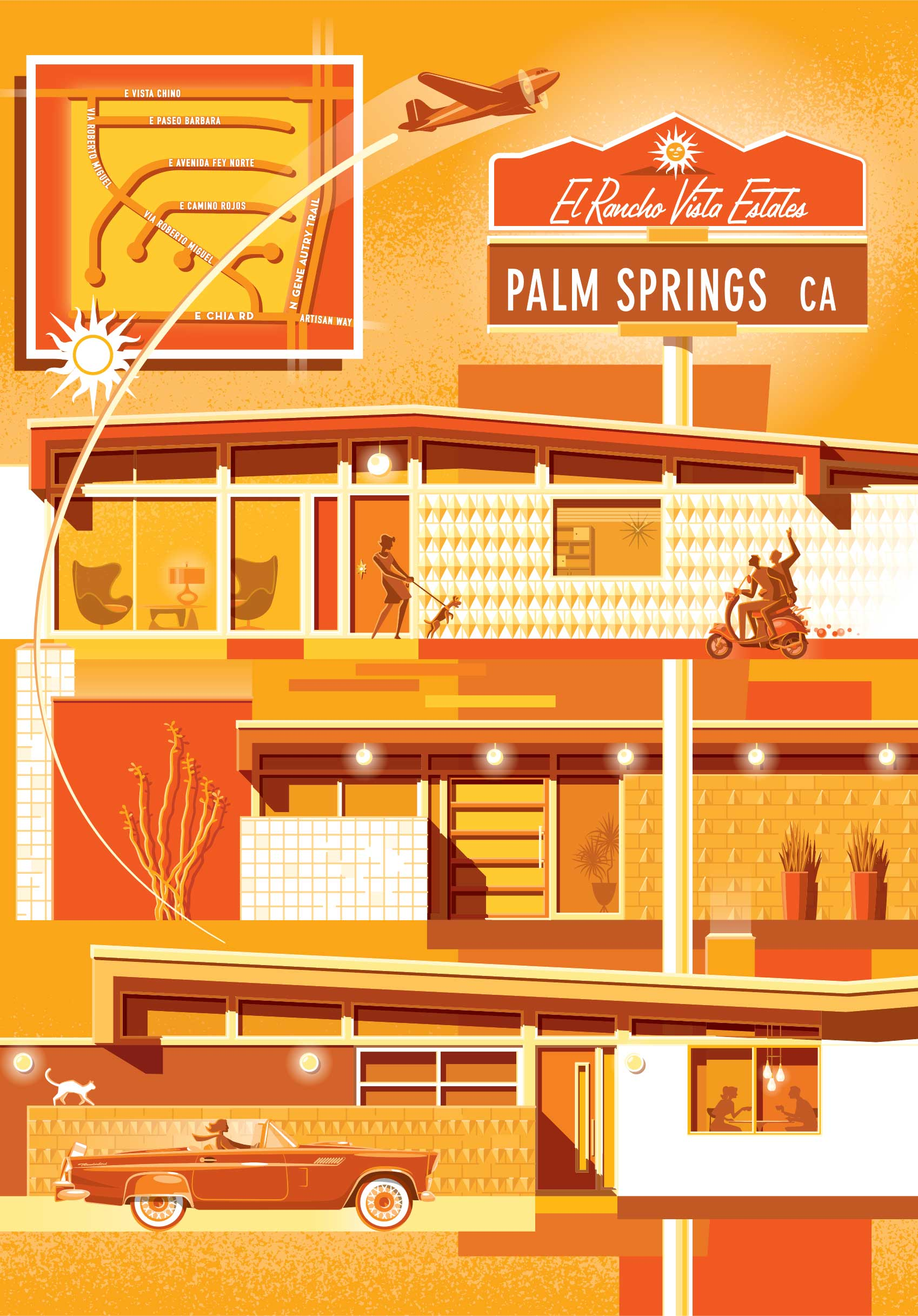 Chris Musselman Illustration Palm Springs Orange Planes Cars and Buildings