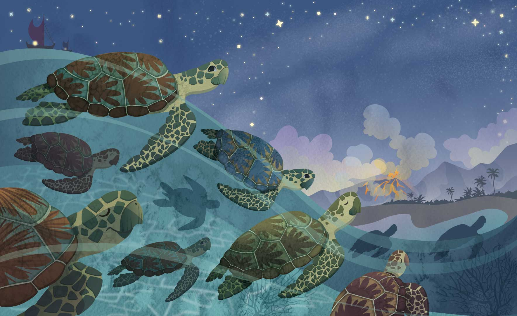 Jamie Tablason Illustration turtles in water swimming